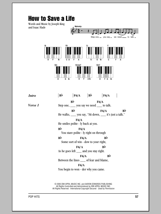 how to save a life the fray piano tutorial